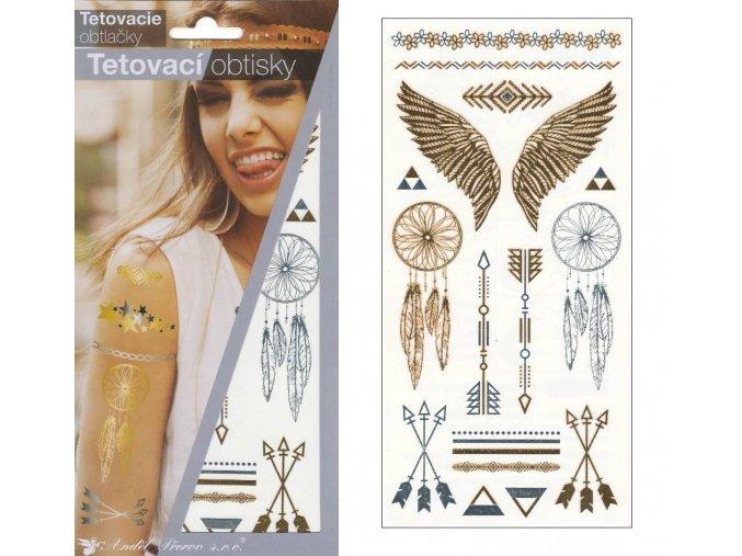 Tetovací obtisky metalické 18x10,5 cm-křídla , 1120