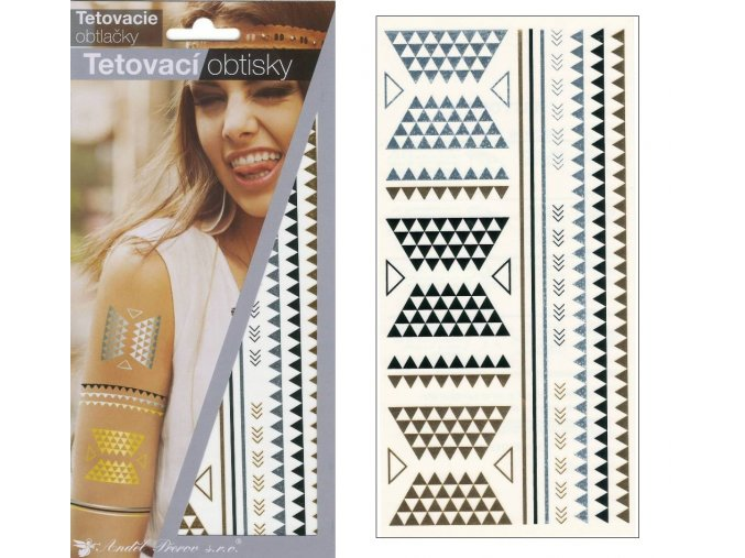 Tetovací obtisky metalické 18x10,5 cm-ornamenty , 1117