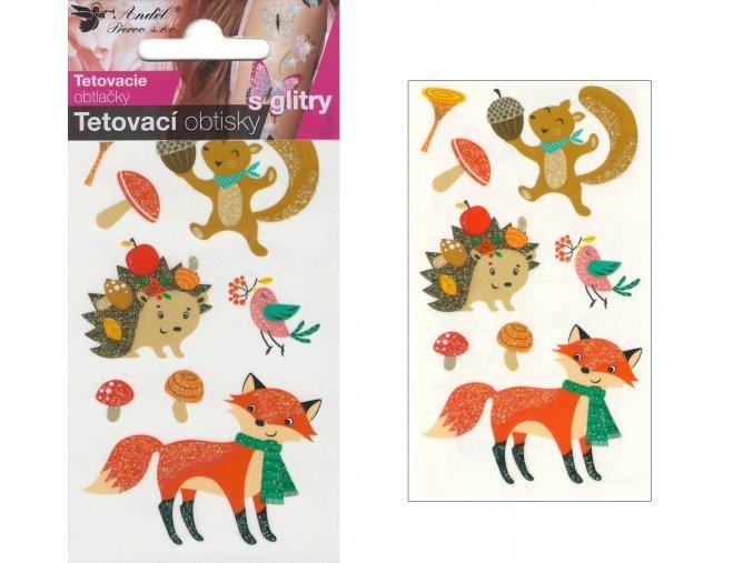 Tetovací obtisky s glitry 10,5x6 cm- s liškou , 1103