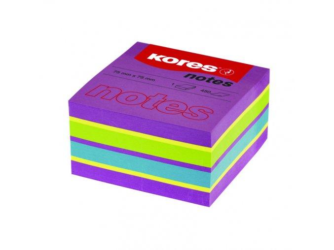 Samolepící bločky CUBO SPRING 75x75 mm 450 listů KORES - neonové barvy