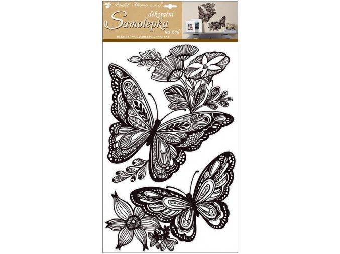 Samolepky na zeď mandala motýli s glitry 10233 , 60x32 cm