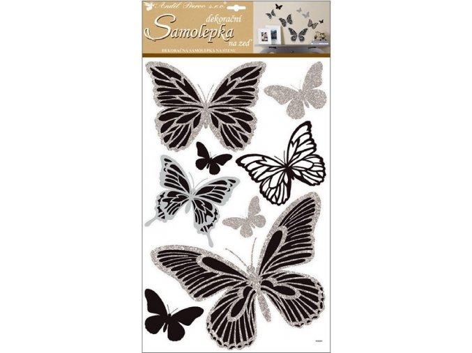 Samolepky na zeď motýli se stříbrnými 10232 , glitry 60x32 cm