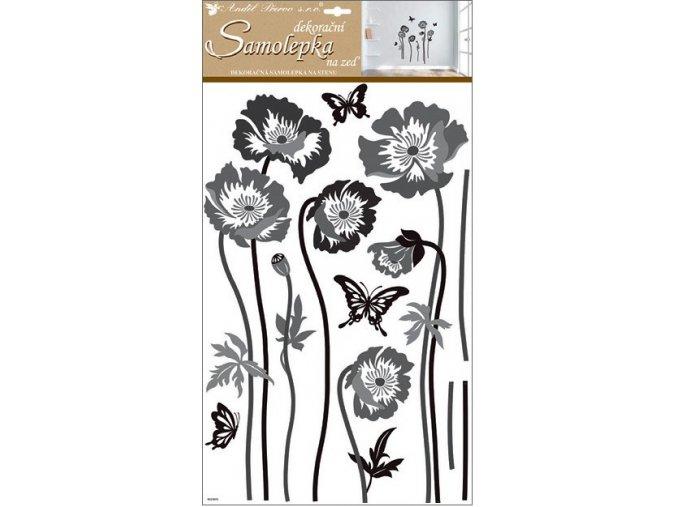 Samolepky na zeď černošedé květiny 60x32 cm