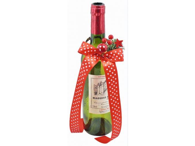 Ozdobný kroužek na láhev s červenou puntíkovanou mašlí 3364
