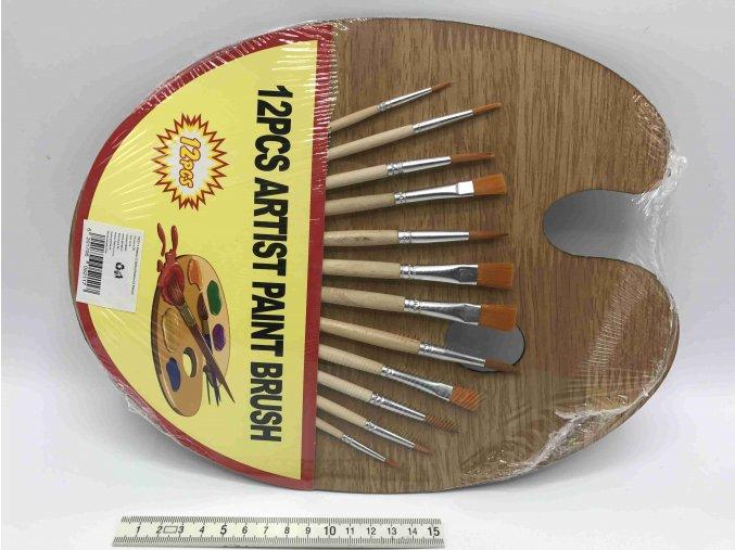 PK052 01 paleta dřevo+12ks štětců