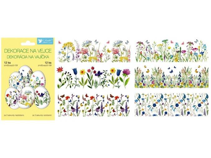 Smršťovací dekorace na vejce jemné květiny, 12 ks 835