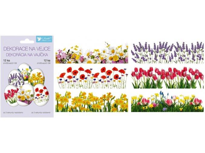 Smršťovací dekorace na vejce jarní květy, 12 ks 836