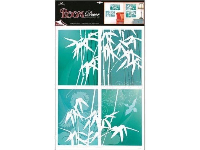 Pokojová dekorace bambus modrý 4 obdelníky 1037, 70x42cm