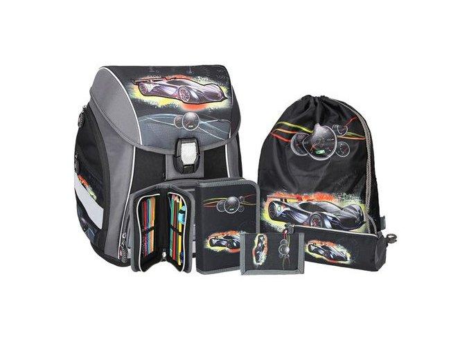 Školní aktovka - 5-dílný set, PRO LIGHT Sport Car, LED
