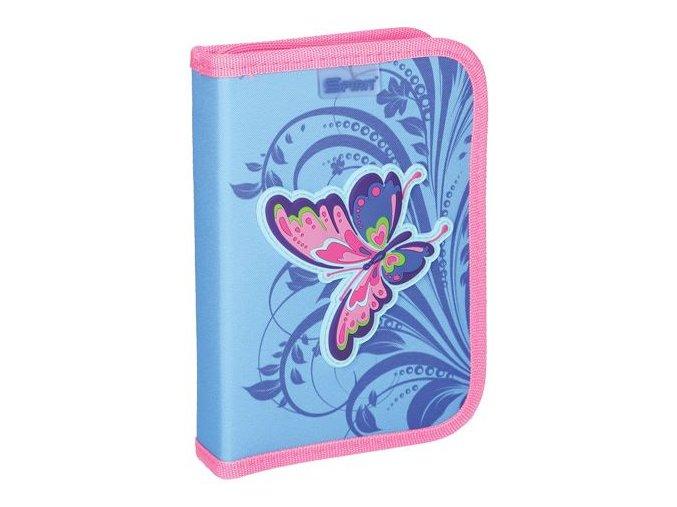 Penál 1-patrový / 2 klopy plný, 3D Butterfly Pink