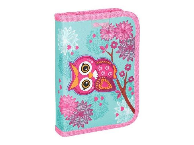 Penál 1-patrový / 2 klopy plný, 3D Owl Turquise
