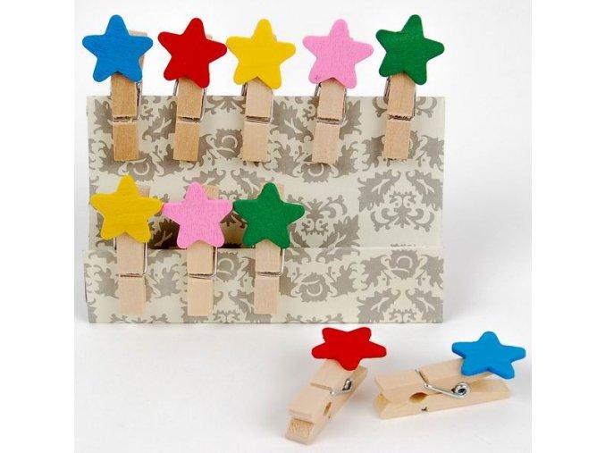 Kolíčky dekorační Shapes 03 hvězda 10ks