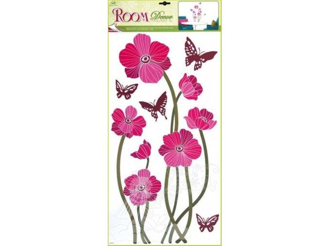 Samolepky na zeď vlčí máky růžové s motýli 1047, 69x30cm