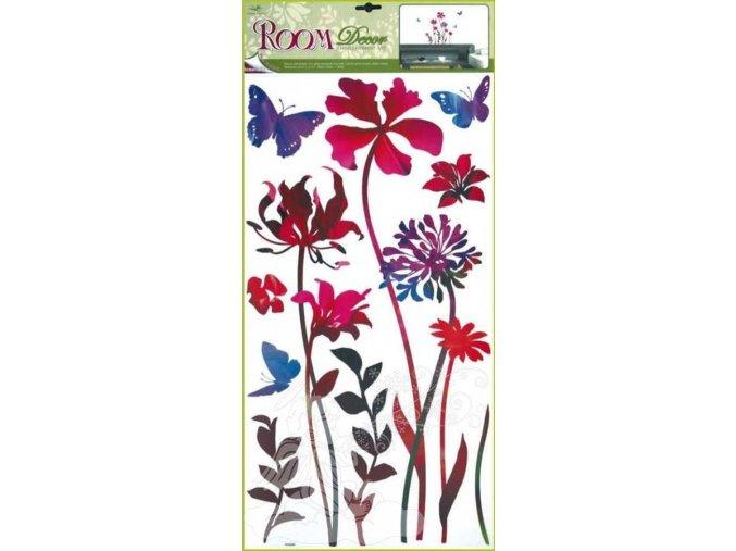 Samolepky na zeď rubínové květiny 1048, 69x30cm