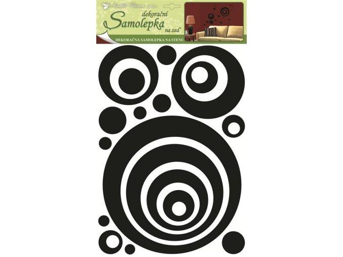 Samolepky na zeď kruhy 3D-EVA s černými gliltry 1345, 49,5x29x0,4cm - 2 POSLEDNÍ KUSY -