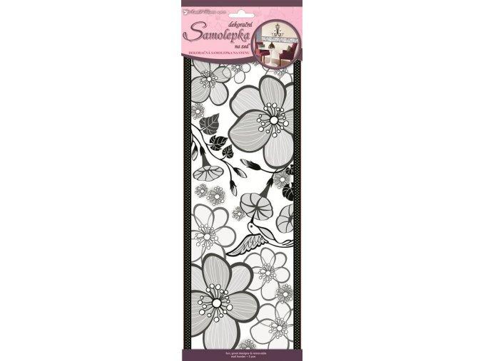 Samolepky na zeď květy velké 3pruhy 1395, 47x16cm - 2 POSLEDNÍ KUSY -