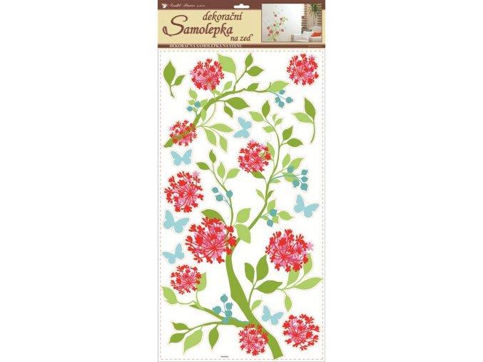 Samolepky na zeď květinky jemné červené s glitrem 1386, 69x32 cm