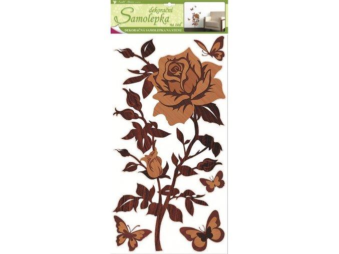 Samolepky na zeď růže s imitací dřeva 1346, 69x32 cm