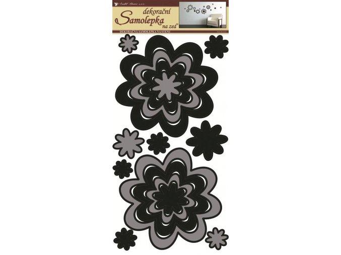 Samolepky na zeď květy šedočerné 1342, 69x32 cm