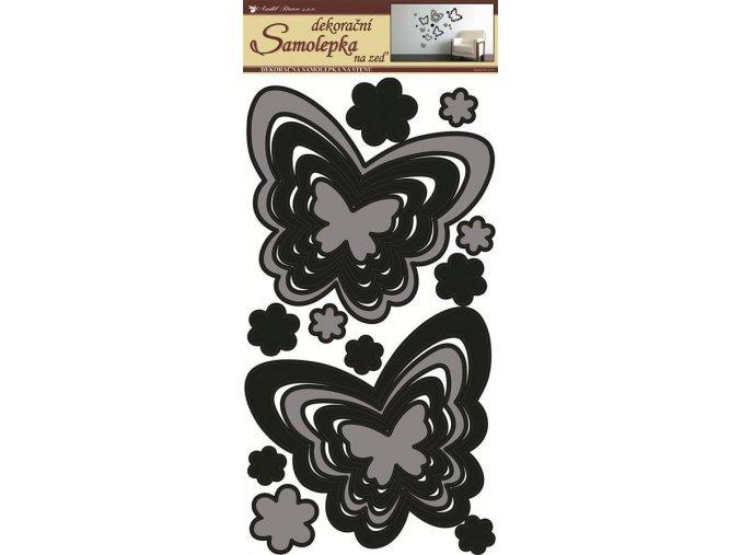 Samolepky na zeď motýli šedočerní 1341, 69x32 cm