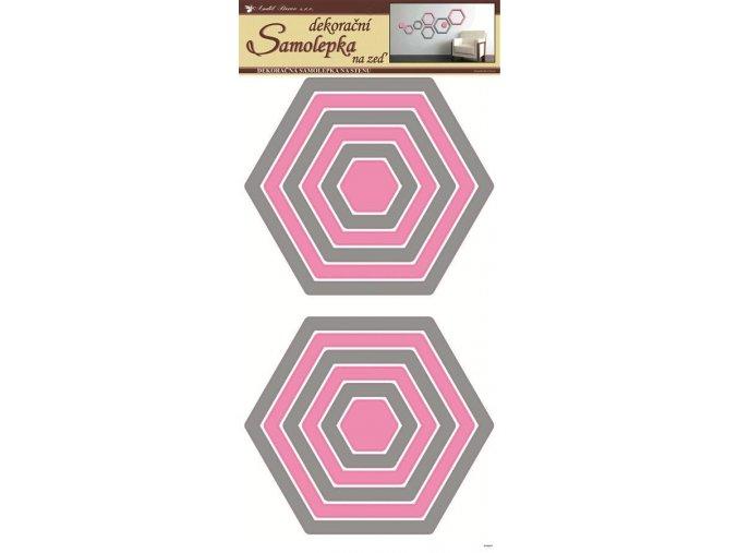 Samolepky na zeď šestiúhelníky šedorůžové 1337, 69x32cm - 2 POSLEDNÍ KUSY -