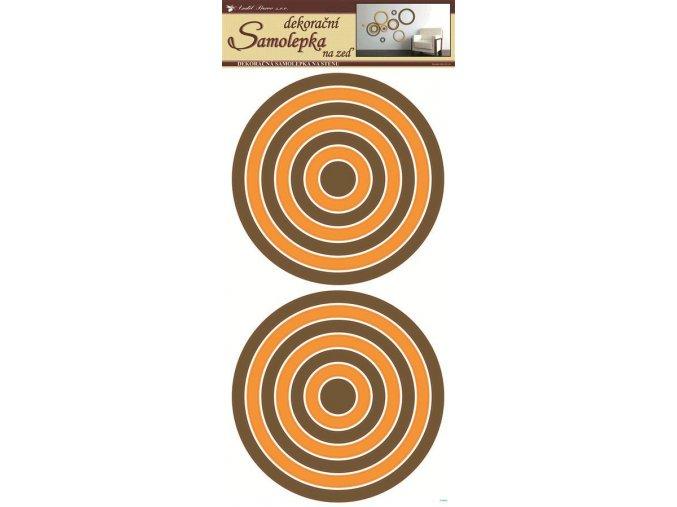 Samolepky na zeď kruhy oranžovohnědé 1335, 69x32 cm