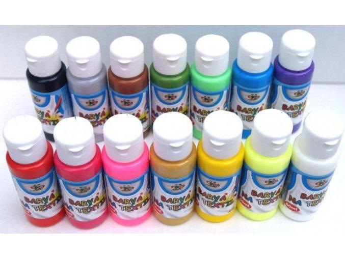 Barva na textil 60ml- assort 15 barev