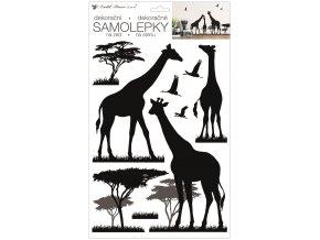 Samolepka na zeď černá žirafy 24 x 42 cm 10476