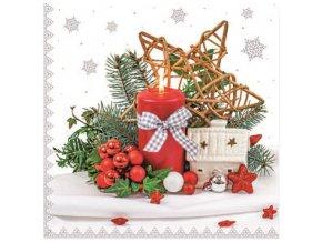 Papírová ubrousky vánoční, třívrstvé 33 x 33 cm, 20 ks 13015