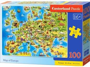 Puzzle 100 dílků premium - Mapa Evropy