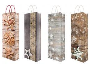 Taška vánoční na lahev s glitry F 36 x 12 x 9 cm 12102