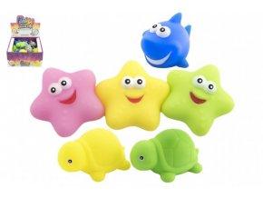Svítící zvířátko plast hvězdička, žralok, želvička 6 barev v sáčku 24ks v boxu