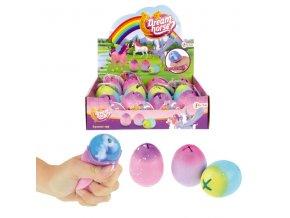 Mačkací vejce/sliz s jednorožcem antistresový gumový 6cm 3 barvy 12ks v boxu