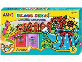 Kolekce barviček na sklo - 6x22ml, šablony,fólie