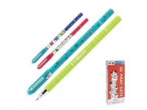 Roller gelový/gumovací M&G iErase So Many Cats Pencil 0.5 mm, modrý