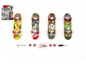 Skateboard prstový šroubovací plast 10cm s doplňky asst na kartě