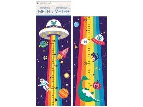 Samolepky na zeď dětský metr - duhový vesmír, do 120 cm 10295