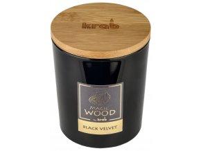 Svíčka MAGIC WOOD s dřevěným knotem - BLACK VELVET 300g