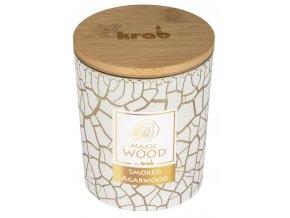 Svíčka MAGIC WOOD s dřevěným knotem - SMOKED AGARWOOD 300g