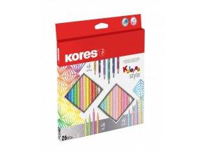 Trojhranné pastelky Kolores Style 3mm 26 ks Kores