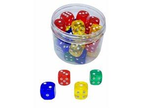 Kostky hrací 1,8cm barevná 30ks
