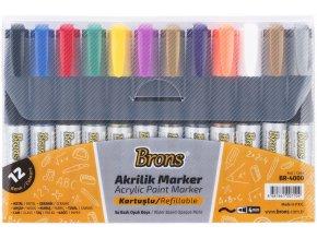 Popisovač akrylový 12 barev BR-4000