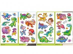 Obtisky vodové barevné dětské 9x19cm-11 dino