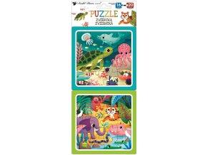 Puzzle 2 obrázky 15 x 15 cm, 16 a 20 dílků, zvířátka 15077