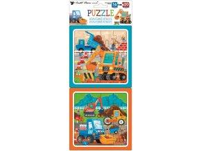 Puzzle 2 obrázky 15 x 15 cm, 16 a 20 dílků, stavební stroje 15079