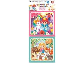 Puzzle 2 obrázky 15 x 15 cm, 16 a 20 dílků, princezny 15078