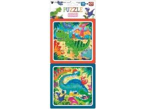 Puzzle 2 obrázky 15 x 15 cm, 16 a 20 dílků, dinosauři 15080