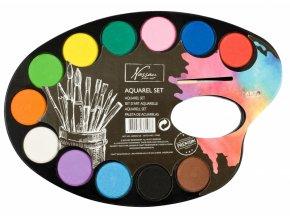 Akvarelové barvy -paleta 12 barev + štětec