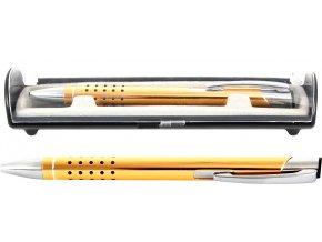 Psací souprava Veno rubber kuličkové pero žlutá
