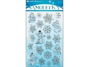 Samolepky plastické sněhuláčci stříbrno-modré 10003, 21x14cm - 2 POSLEDNÍ KUSY -